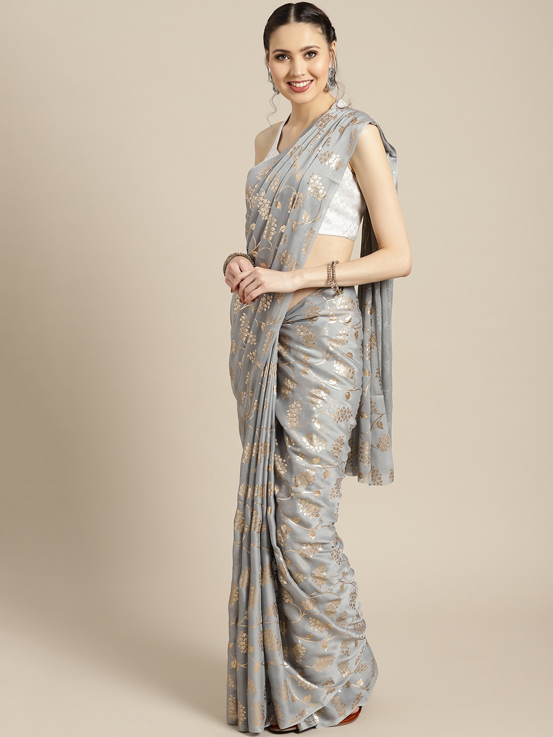 Ishin Grey & Golden Poly Georgette Foil Print Saree