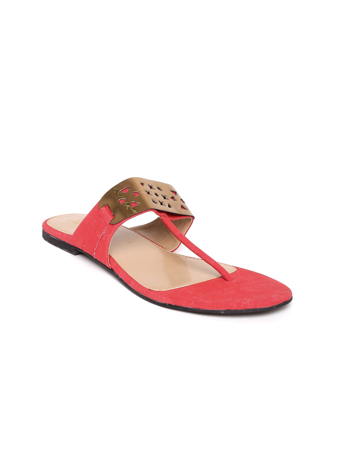 Lamere Women Gold-Toned & Red Flats