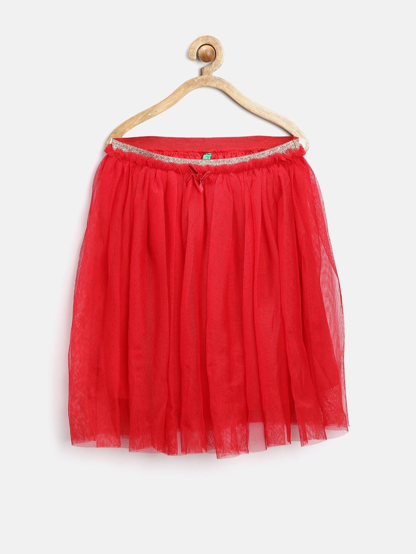 United Colors of Benetton Girls Red Net Flared Skirt