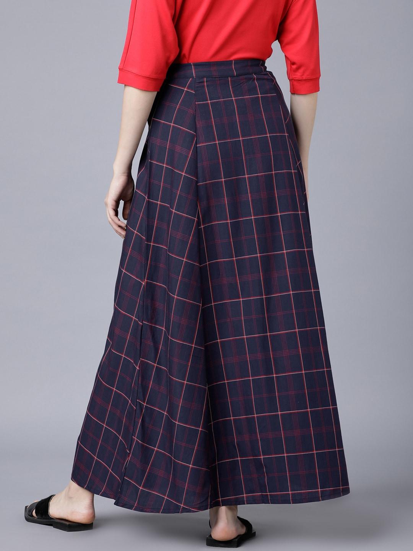 Tokyo Talkies Women Navy Blue Checked Flared Maxi Skirt