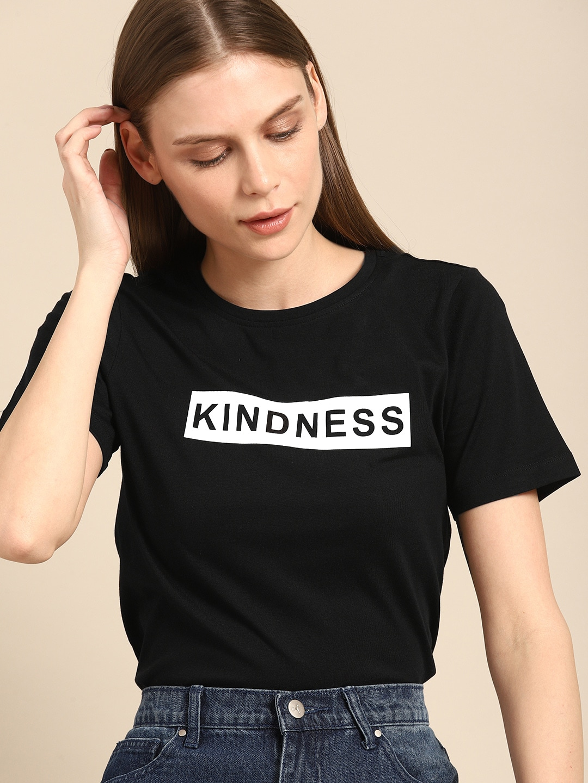 ether Women Black Printed Round Neck T-shirt