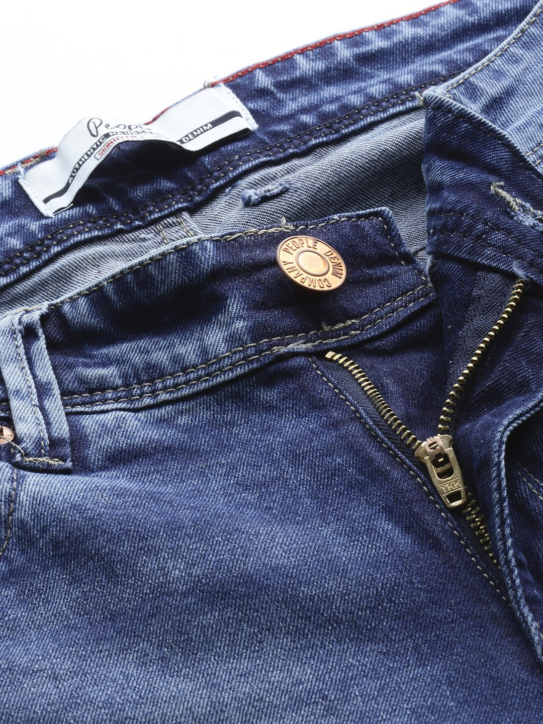 People Men Blue Skinny Fit Mid-Rise Clean Look Stretchable Jeans