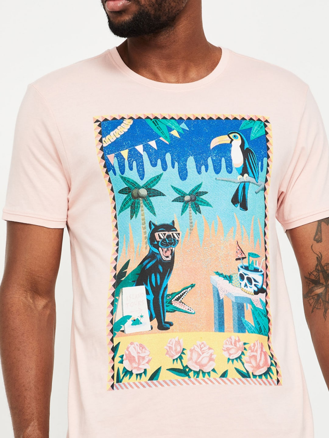 Forca by Lifestyle Men Pink Printed Round Neck T-shirt