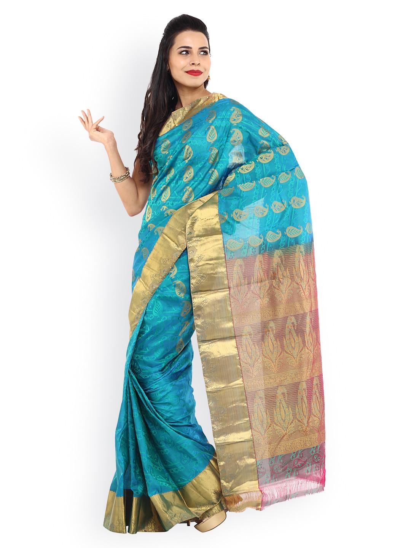 Sudarshan Sarees Blue Art Silk Traditional Saree