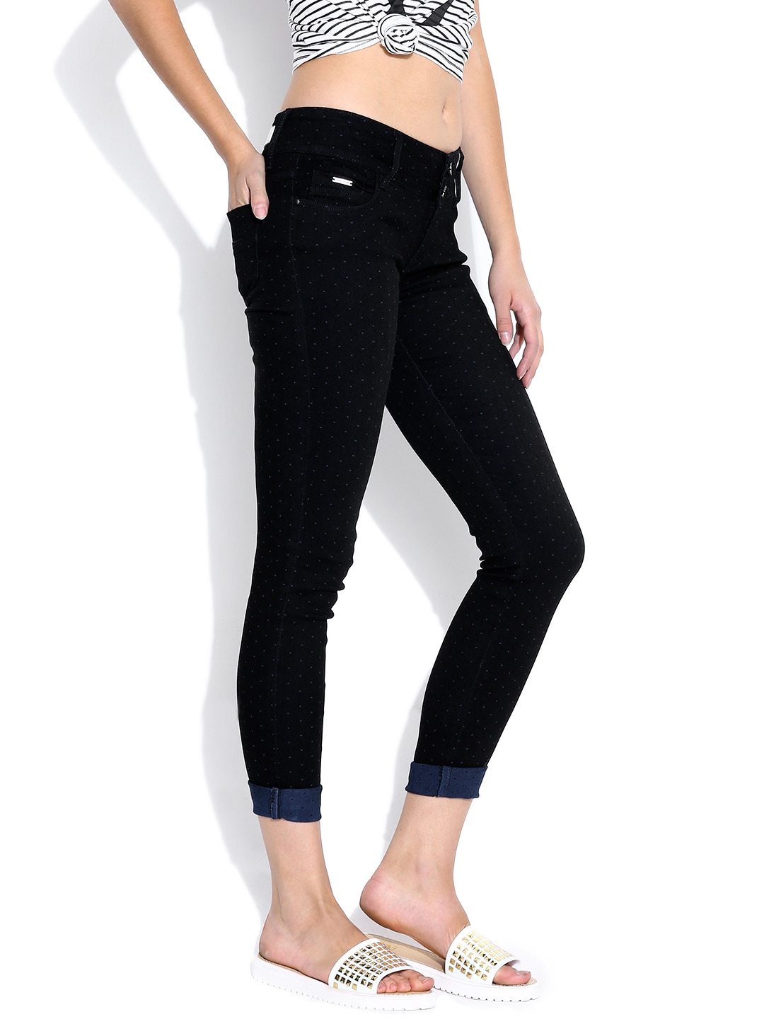 Buy Lotus Black Dot Print Comfort Fit Jeans - Jeans for Women | Myntra