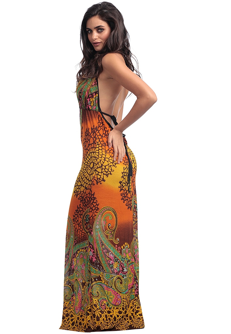 Yellow/Orange Printed Long Dress