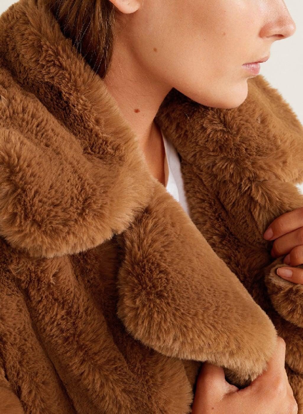 183819fcc Buy MANGO Brown Longline Faux Fur Overcoat Online - 7907263 - Jabong