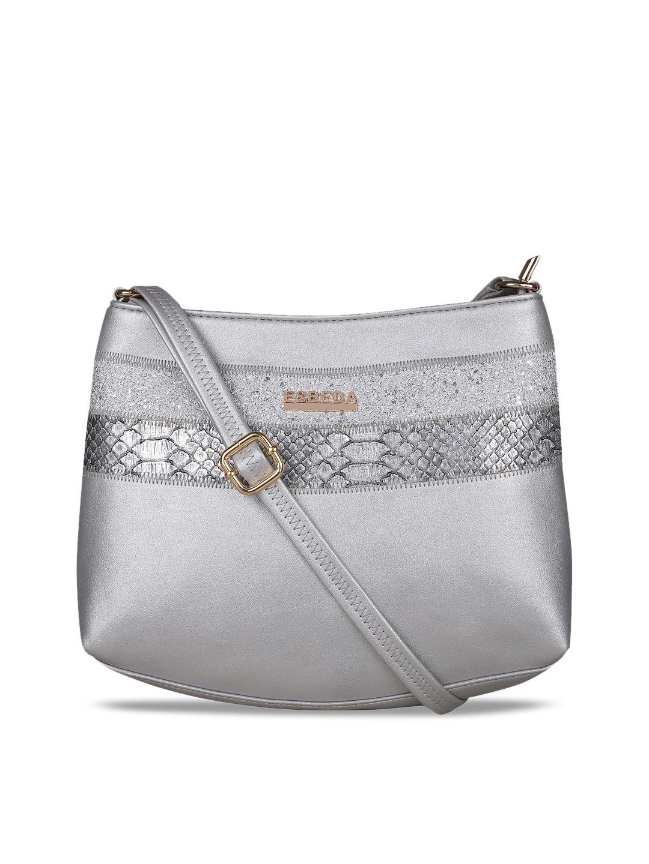3bd810a9d733 ESBEDA Silver-Toned Self Design Sling Bag