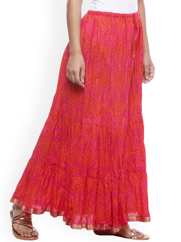 Soundarya Women Magenta Printed Long Skirt