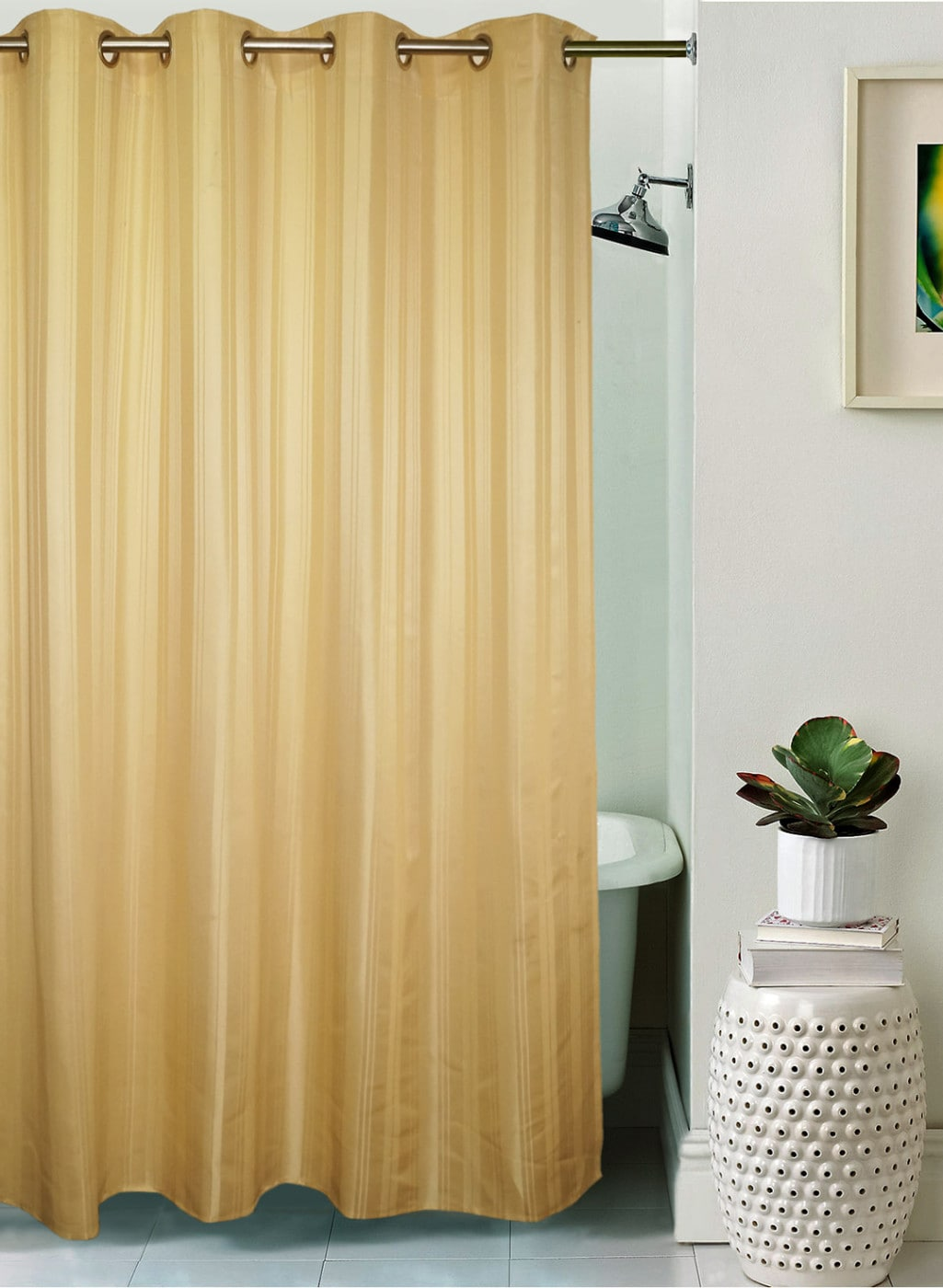 Lushomes Gold Toned Striped Shower Curtain