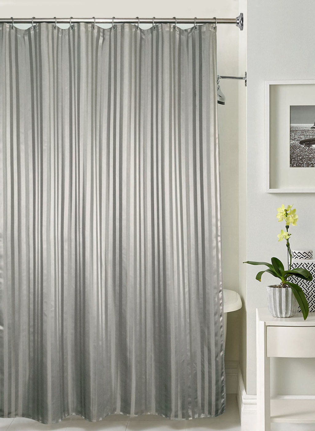 Lushomes Grey Striped Shower Curtain