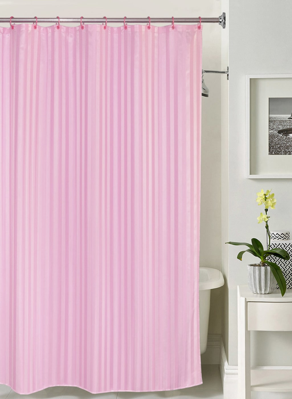 Lushomes Pink Striped Shower Curtain