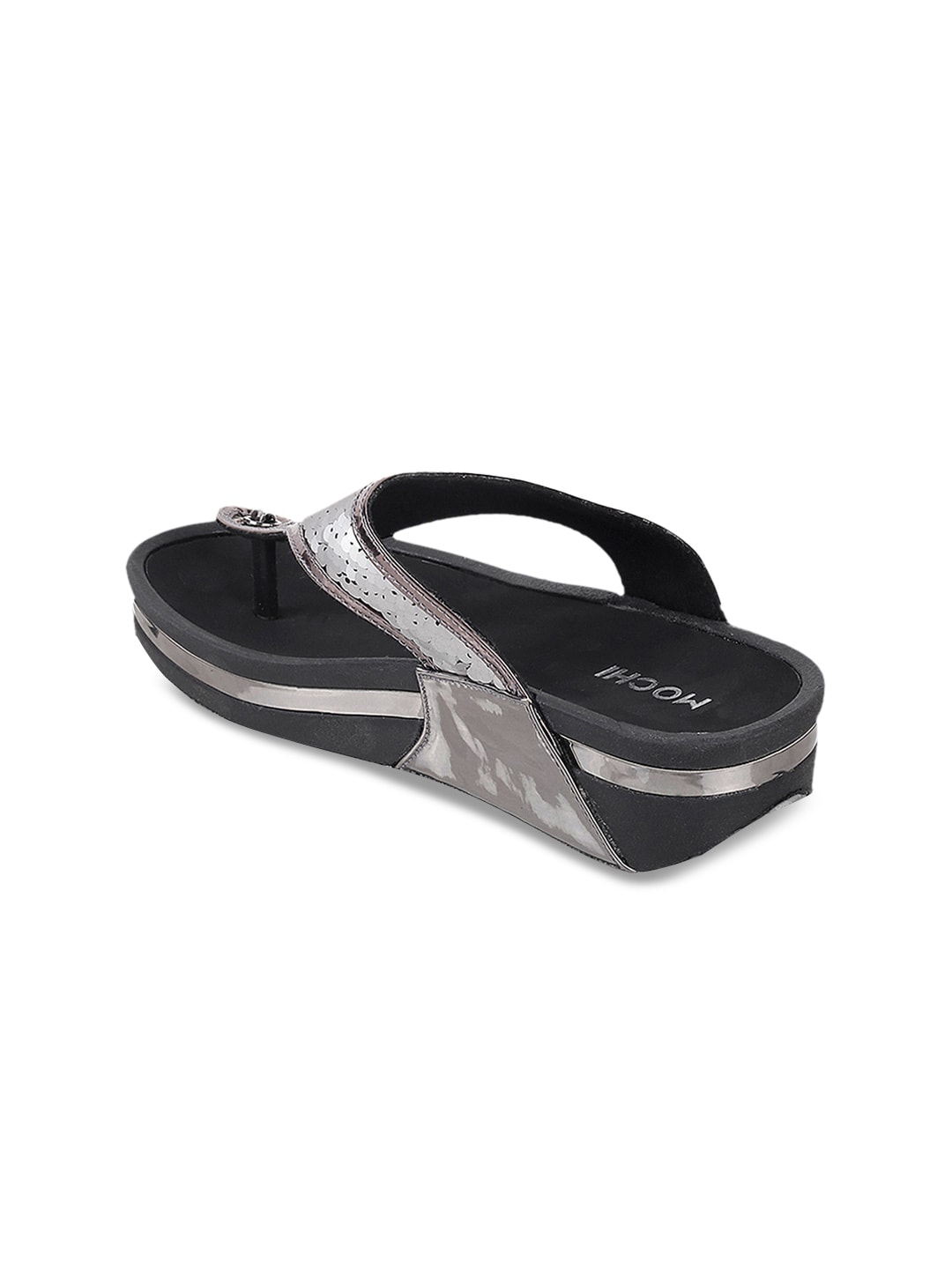 Mochi Women Grey Embellished Sandals