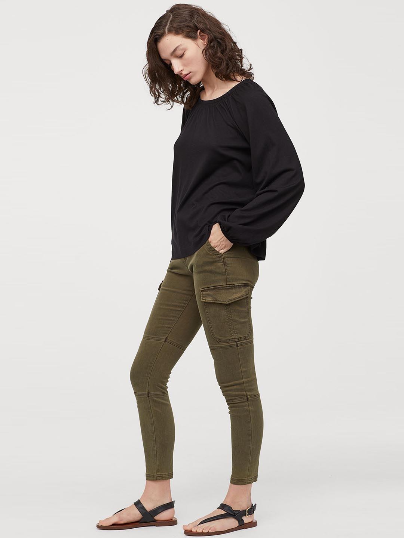 H&M Women Black Solid Modal-blend Blouse