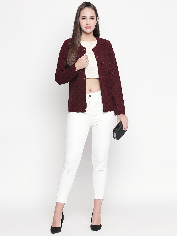 RANGMANCH BY PANTALOONS Women Maroon Self Design Sweater