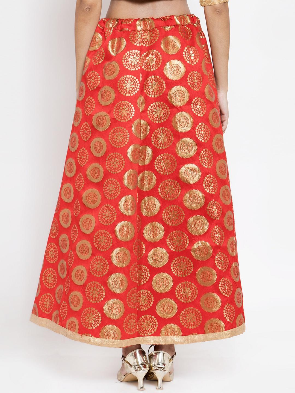 Clora Creation Women Red & Gold Coloured Printed Banarasi Silk Flared Maxi Skirt
