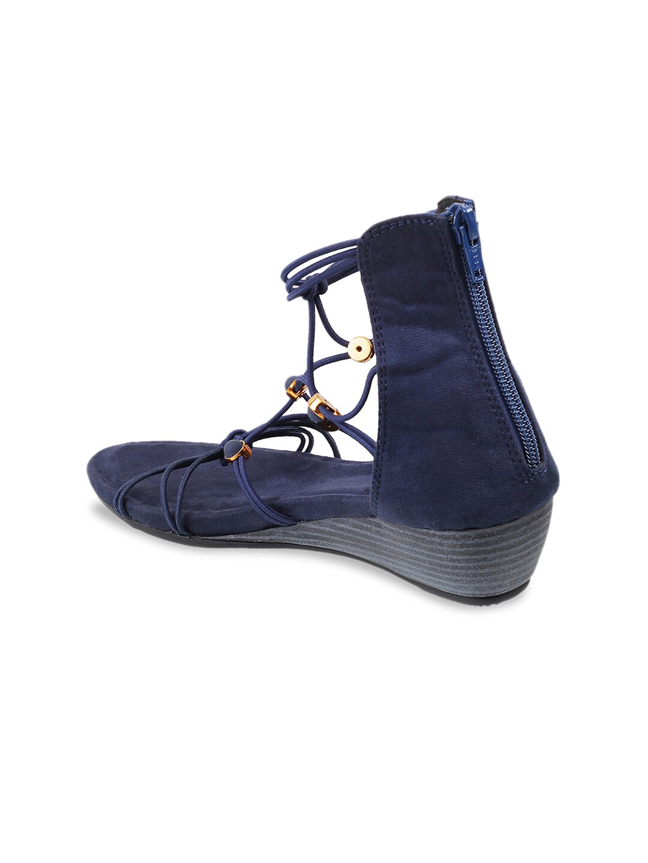 Mochi Women Blue Solid Gladiators