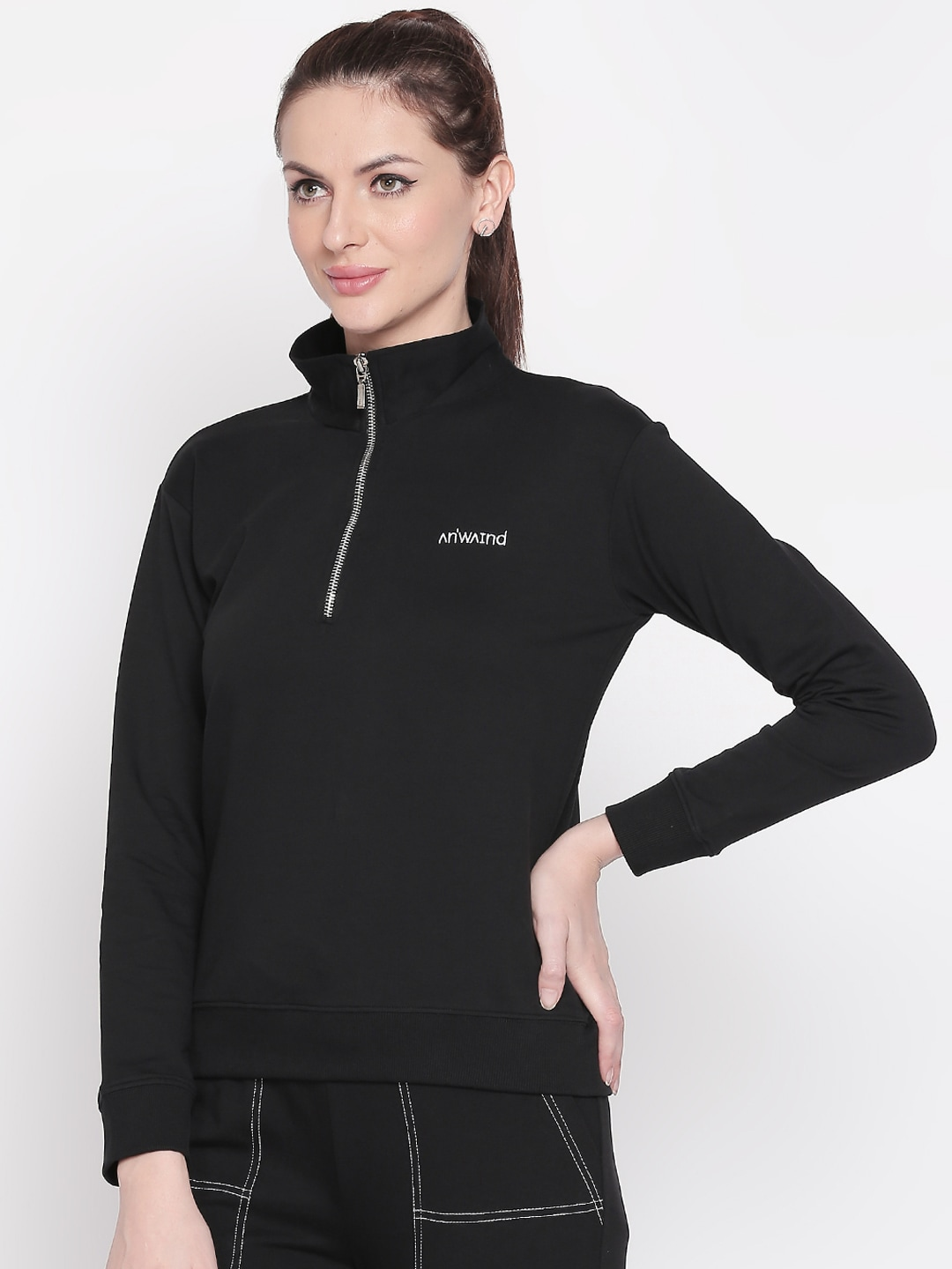 ANWAIND Women Black Solid Sweatshirt