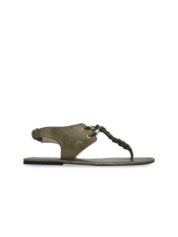 AADY AUSTIN Women Olive Green Woven Design T-Strap Flats