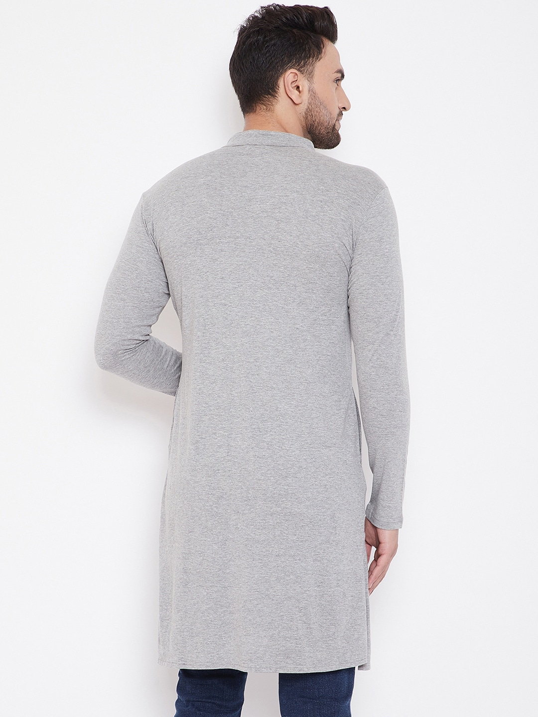 Hypernation Men Grey Solid Straight Kurta
