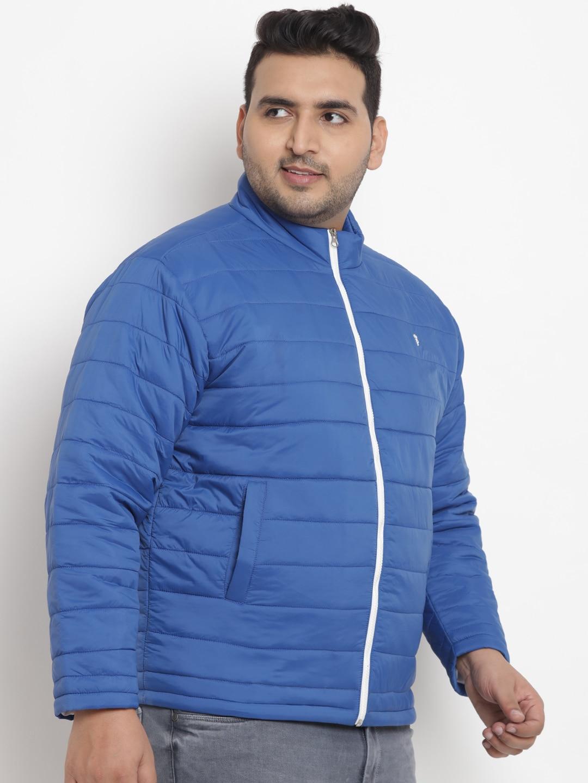 John Pride Men Blue Solid Padded Jacket