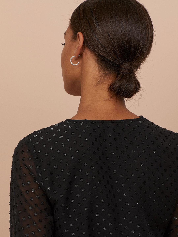 H&M Women Black Solid Plumeti Chiffon Dress