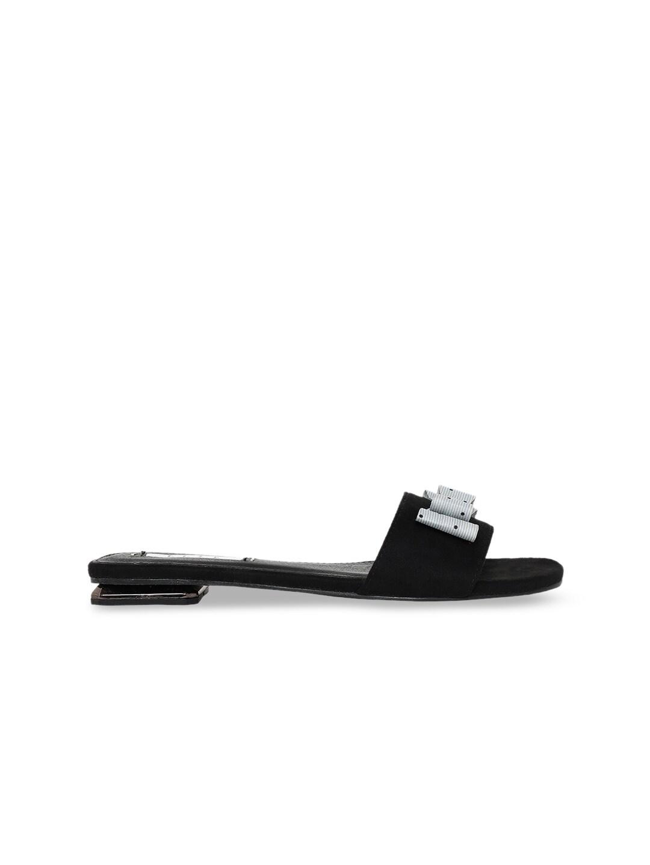 Elle Women Black Solid Open Toe Flats