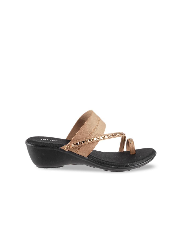 WALKWAY Women Beige Embellished Heels