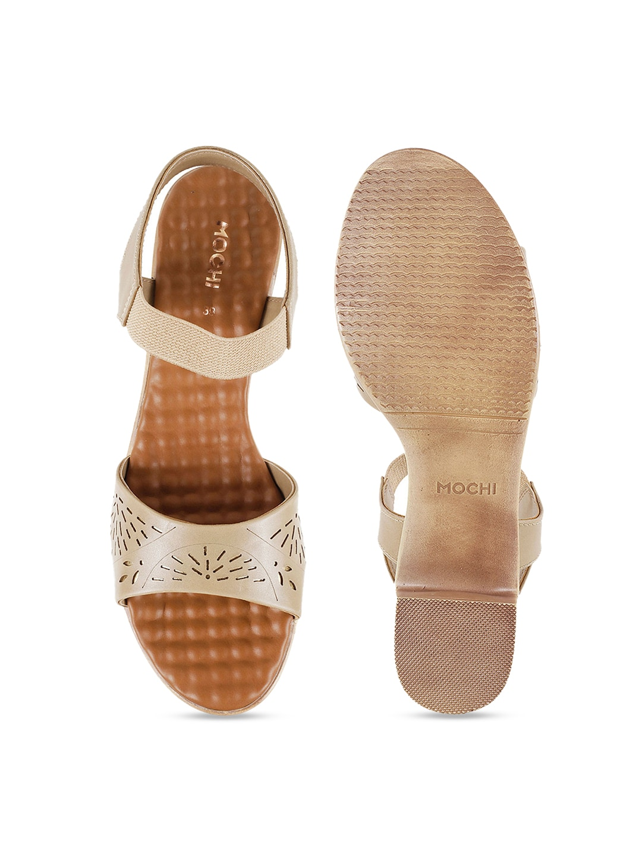 Mochi Women Beige Solid Heels
