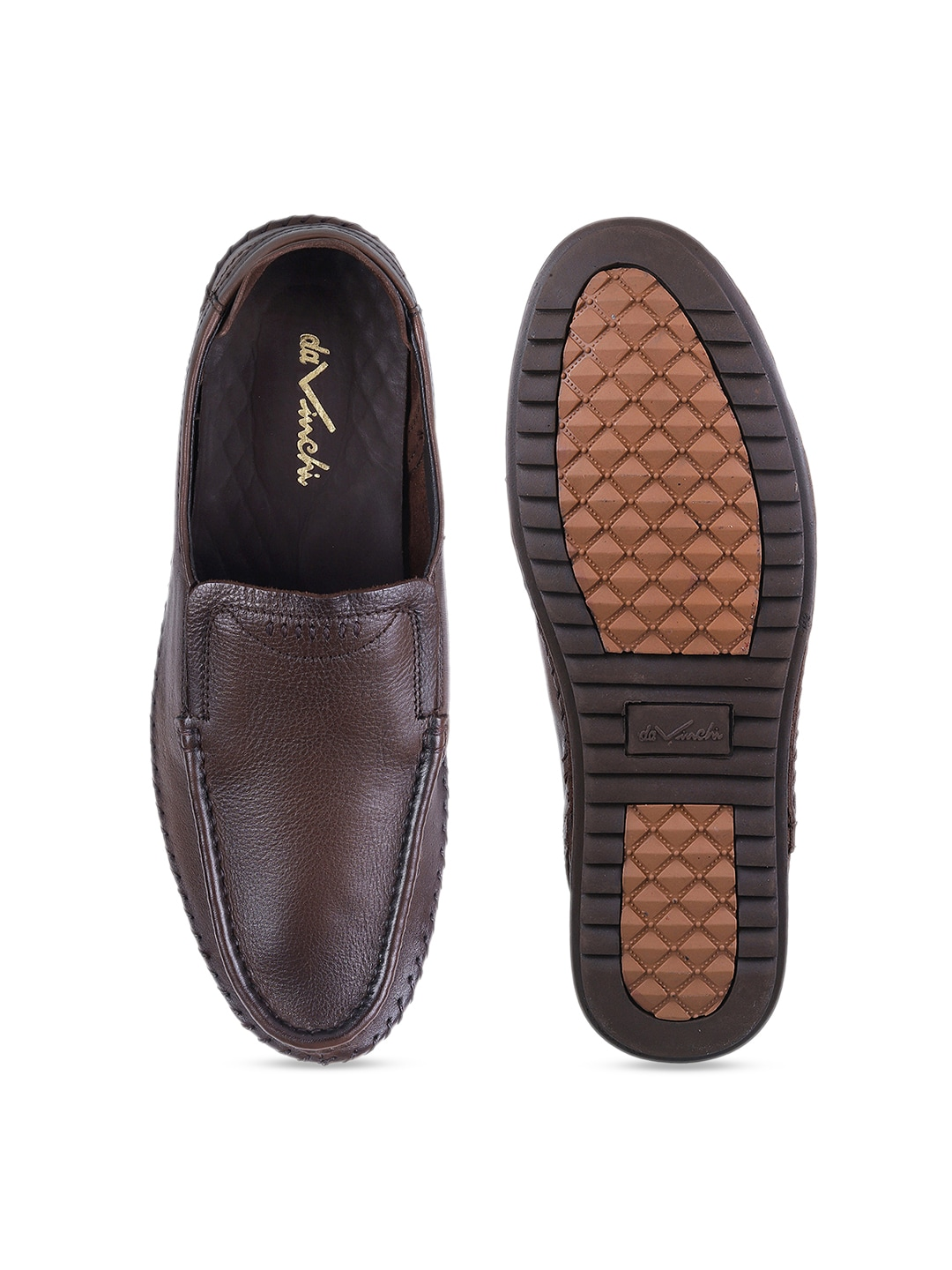 Metro Men Brown Solid Semi-Formal Leather Slip-On Shoes