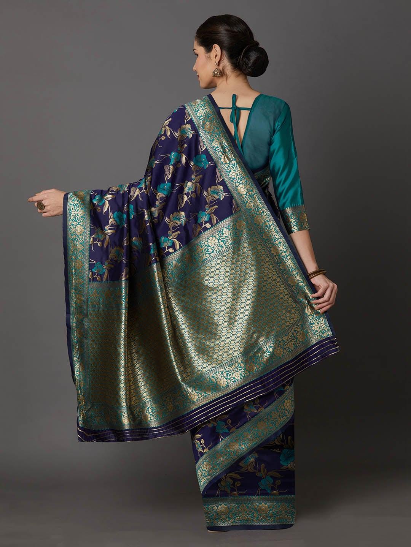 Mitera Navy Blue & Gold-Toned Silk Blend Woven Design Kanjeevaram Saree