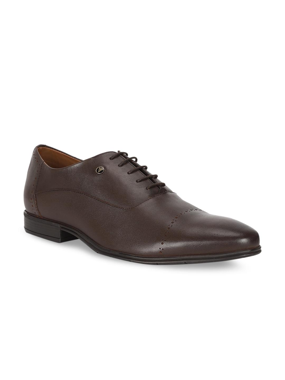 Van Heusen Men Brown Solid Leather Formal Oxfords