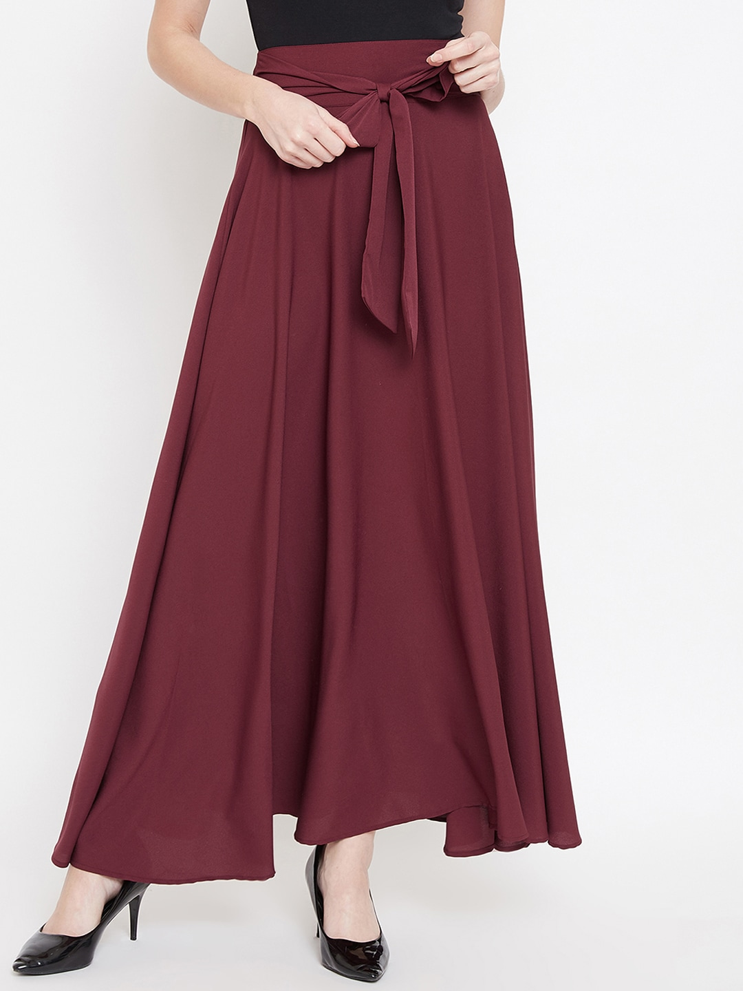 Berrylush Women Maroon Solid Flared Maxi Skirt