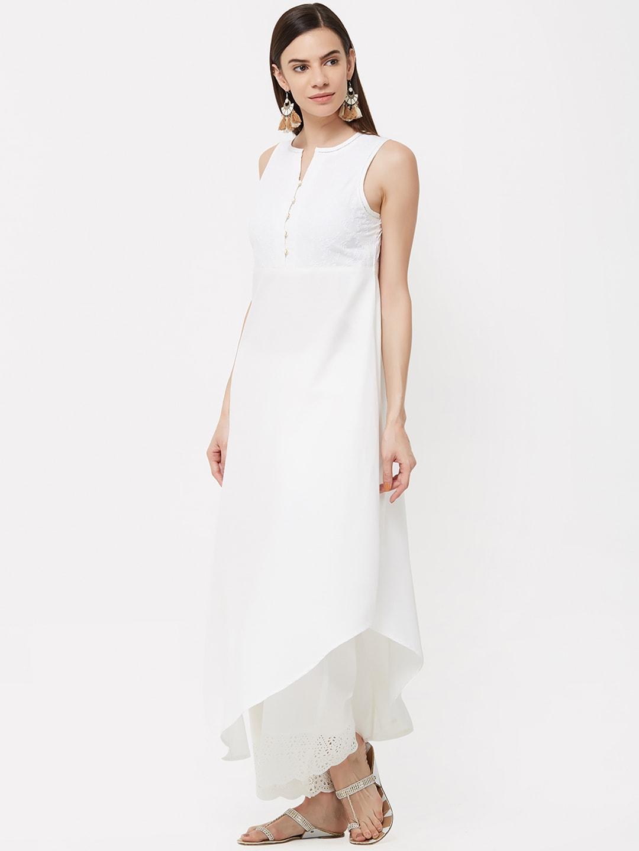 Naari Women Off-White Embroidered Asymmetrical Hem A-Line Kurta