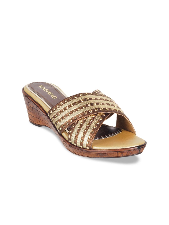01dc8f3f8db SOLE HEAD Women Gold-Toned Striped Sandals