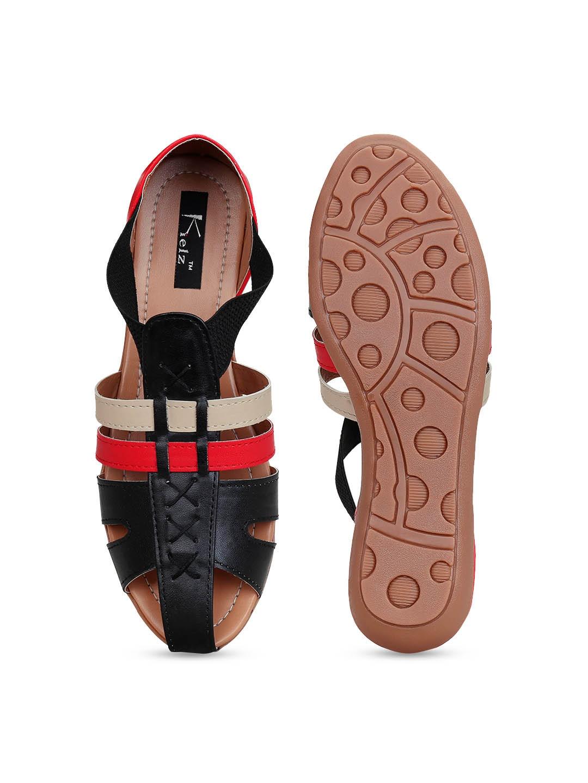 Kielz Women Black Solid Open Toe Flats