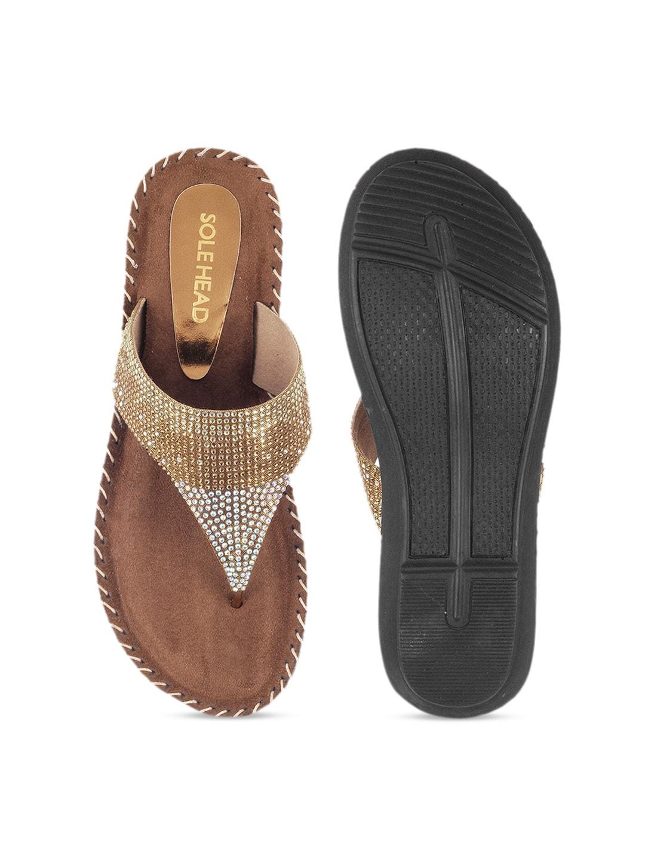SOLE HEAD Women Gold-Toned Solid Heels