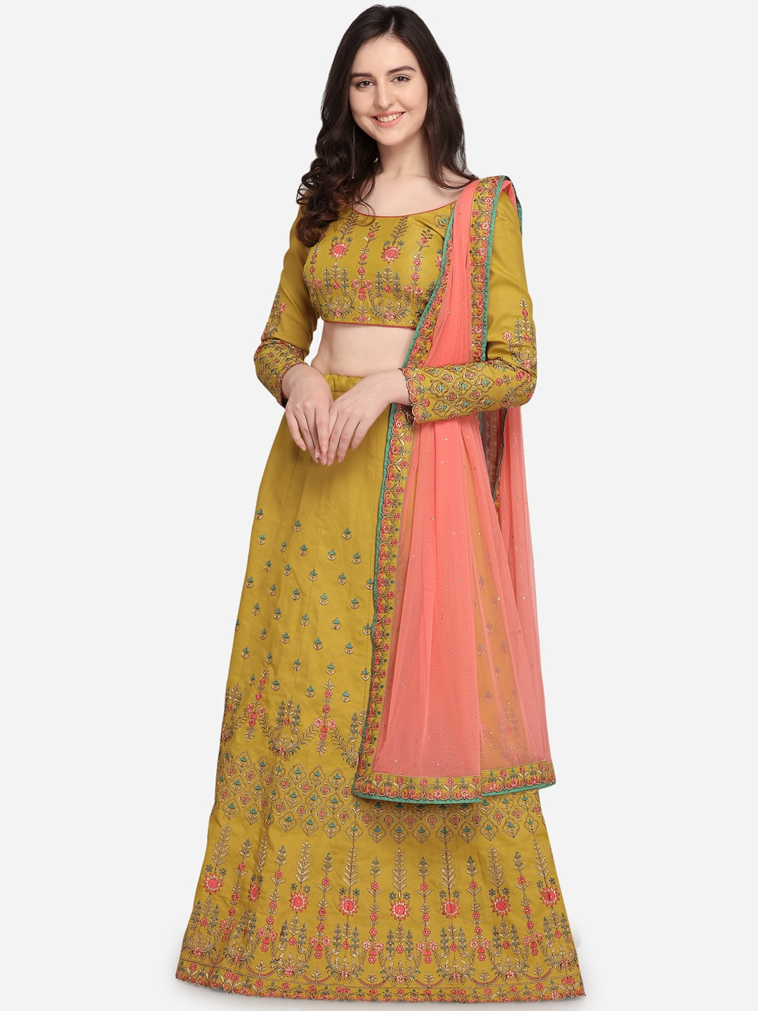 RIYA Mustard Yellow & Peach-Coloured Embroidered Unstitched Lehenga & Blouse with Dupatta