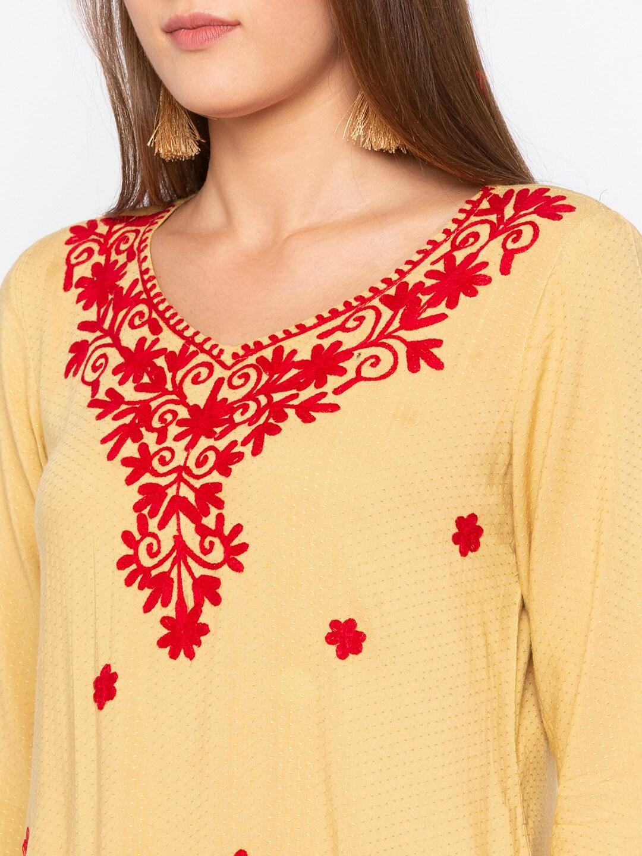 Globus Women Beige & Red Embroidered Straight Kurta