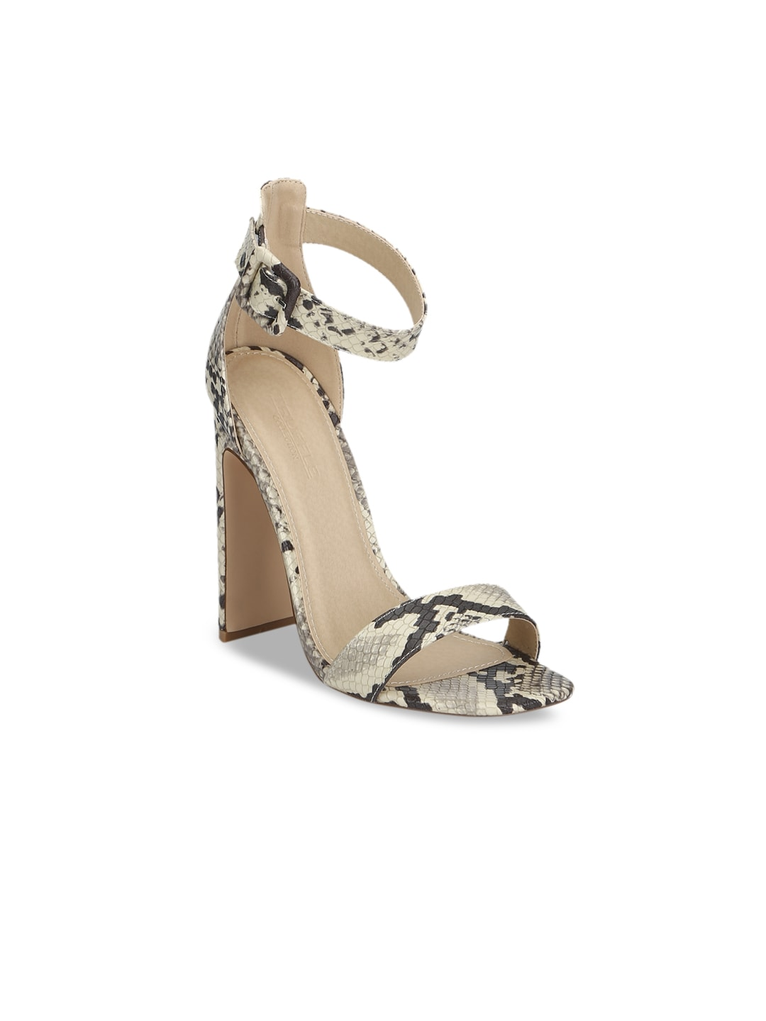 Truffle Collection Women Beige Printed Heels