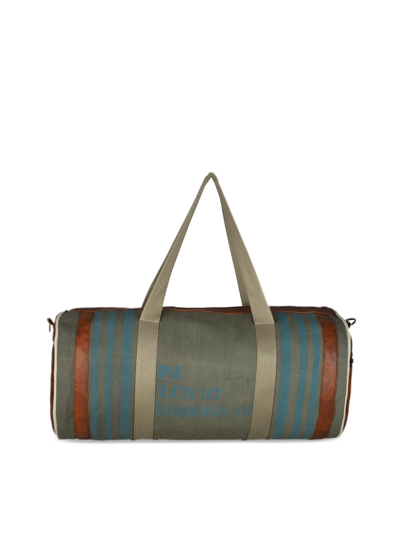 SPYKAR Unisex Olive Green & Multicoloured Printed Duffel Bag