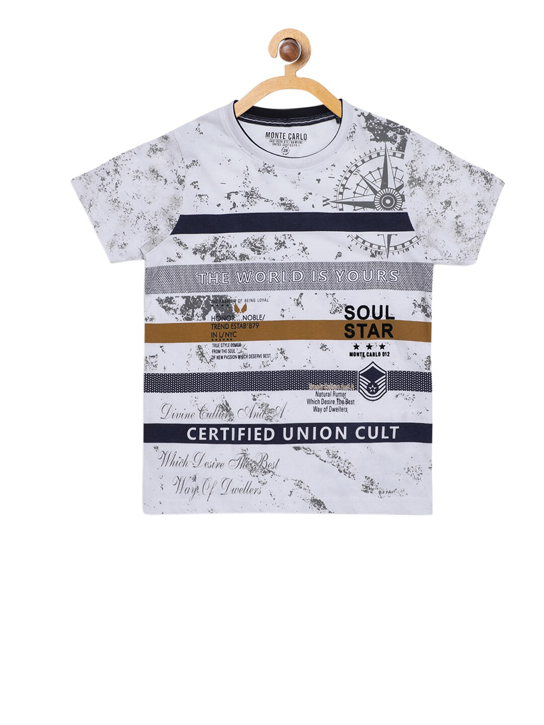 3ea4c004d39 Monte Carlo Boys Off-White Printed Round Neck T-shirt