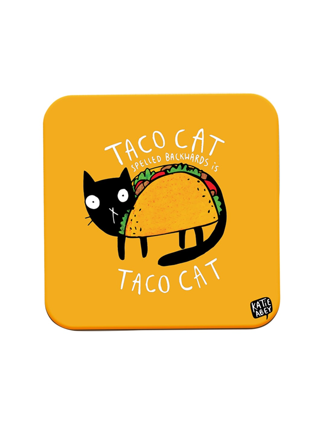 Happywagon Yellow Taco Cat Printed MDF Square Coaster