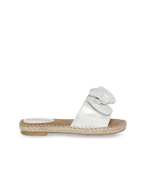 GIORDANO Women Off-White Solid Open Toe Flats