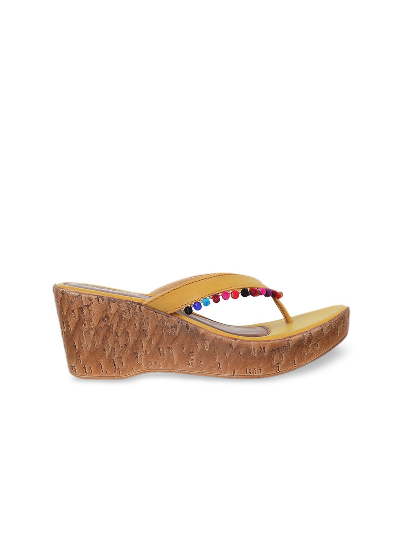 SOLE HEAD Women Mustard Yellow Solid Sandals