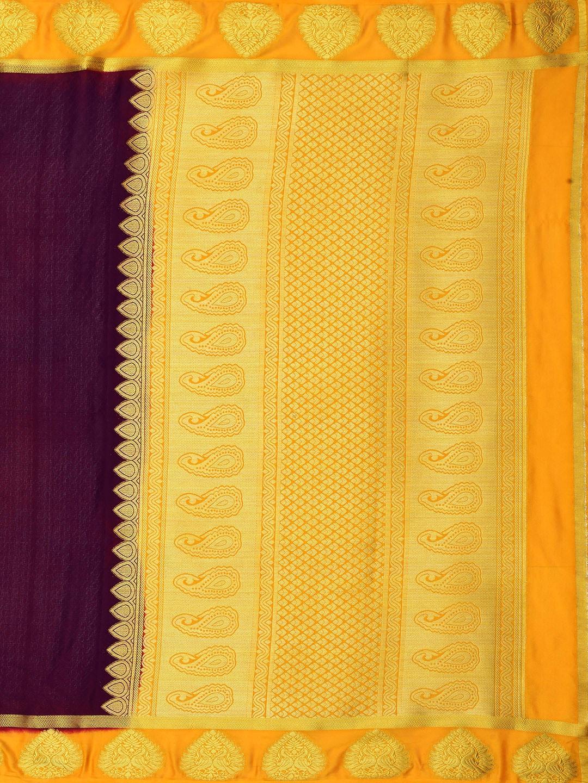 MIMOSA Burgundy Poly Crepe Woven Design Mysore Silk Saree