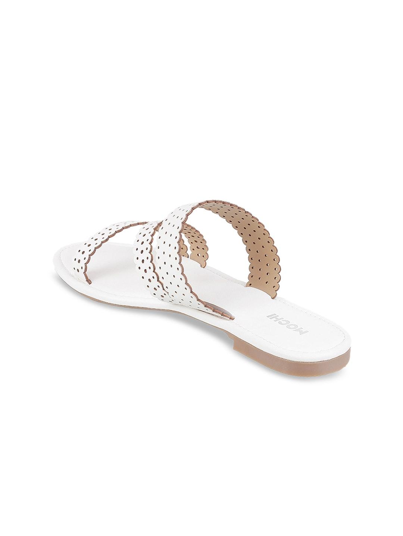 Mochi Women White Solid Open Toe Flats