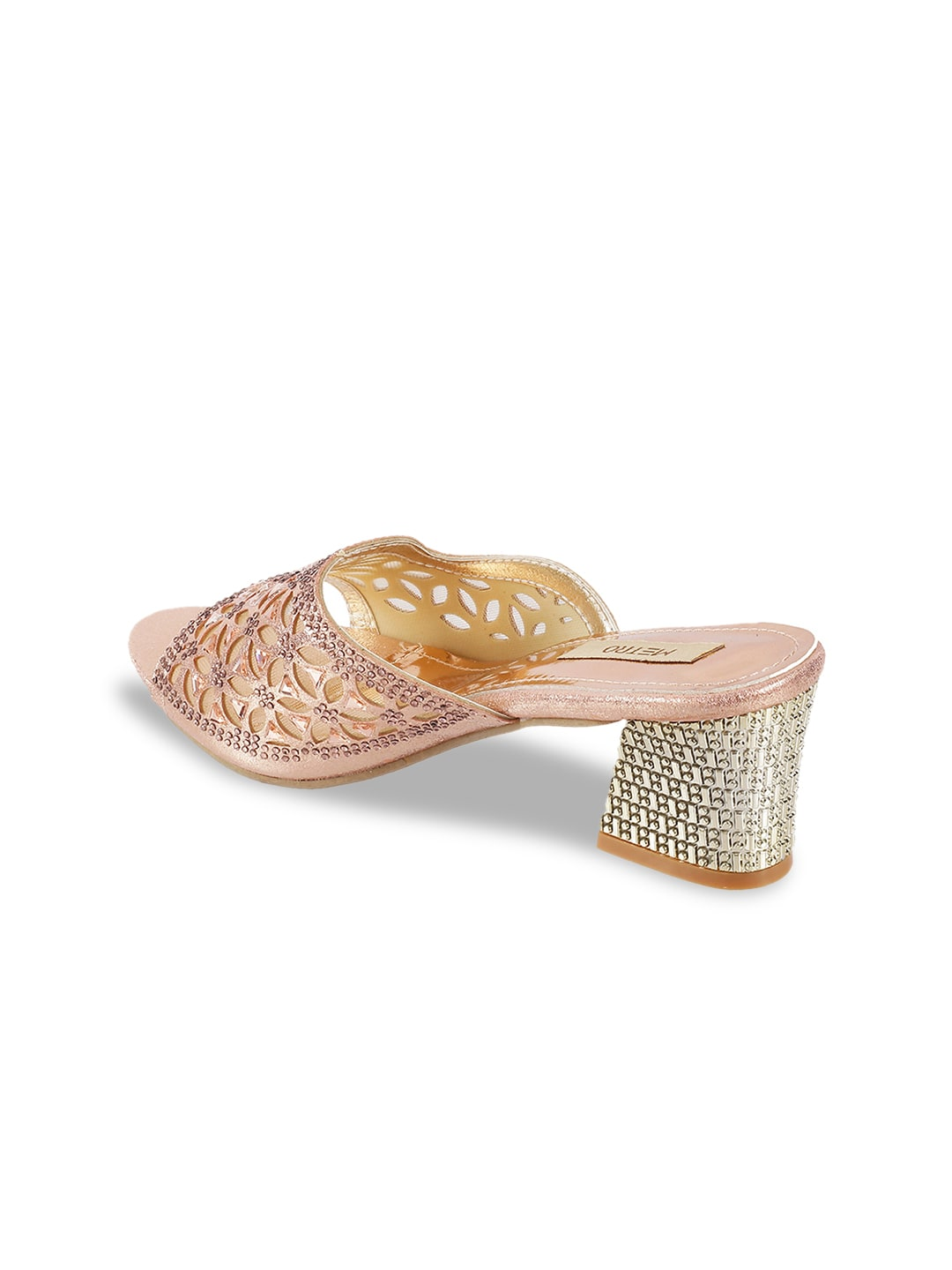 Metro Women Gold-Toned Solid Mules