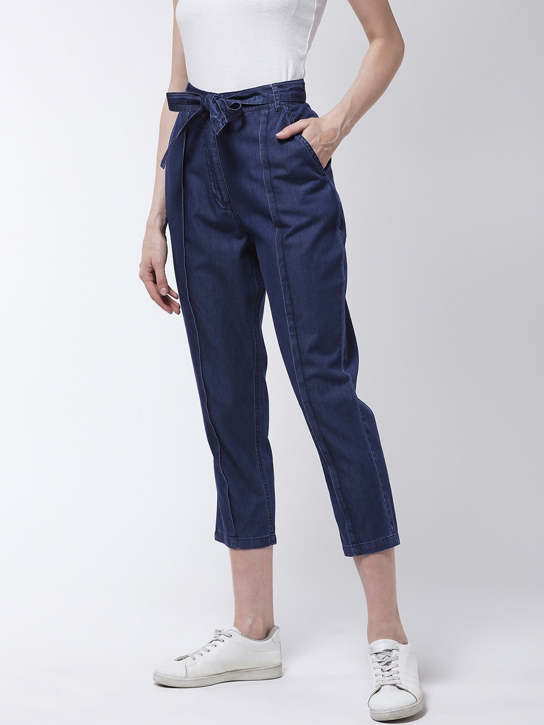 MAGRE Women Navy Blue Regular Fit Solid Peg Trousers