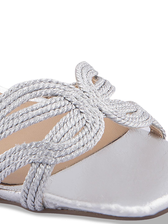URBANE Women Silver-Toned Woven Design Heels